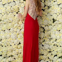 G2091 Long Jersey Red or Blue Prom Dress Evening Gown