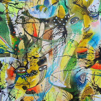 Large Outsider Art - Surreal Paintings - Yellow Abstract Art - Art Brut - Bold Bright Colors - Face Paintings - Colourful Art - Surreal Art