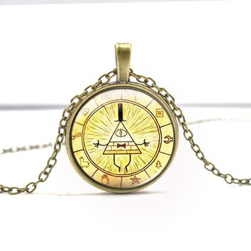 Drama Gravity Falls Mysteries BILL CIPHER WHEEL Time Gems Pendant Bronze Silver Color Round glass Necklace Special