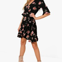 Indiana Floral Woven Wrap Front Tea Dress | Boohoo
