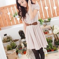 Dainty Single Breasted Ladies Apricot Dresses : Wholesaleclothing4u.com