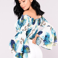 Nadja Tropical Top - White