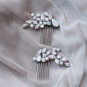 Wedding Hair Pin with Opals Bridal Hair Pin ONE PIN Bridesmaid Pin Wedding Opal Stone for Bride Hair Pins Jeweled Mini Comb ONE