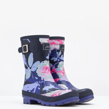 Molly French Navy Beau Bloom Printed Mid-Height Rain Boots | Joules US