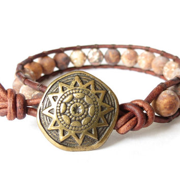 Southwestern style leather bracelet with star button, brown antique agate beads on distressed leather