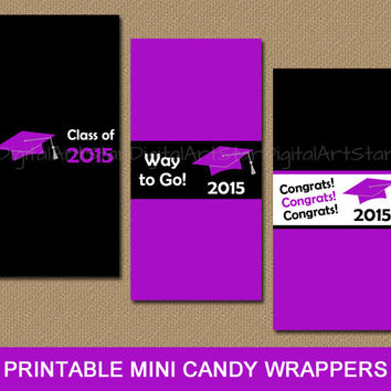 2015 Graduation Party Favors Printable Candy Labels - Graduation Party Decor Purple Black Candy Buffet Chocolate Wrappers - INSTANT DOWNLOAD