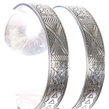 """7.50"""" silver tribal etched double cuff bangle bracelet 1.45"""" wide"""
