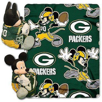 Green Bay Packers NFL Mickey Mouse Throw and Hugger Pillow Set