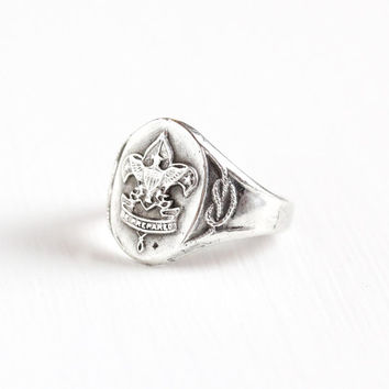 Vintage Sterling Silver Boy Scout Ring - Retro Size 7 BSA Boy Scouts of America Eagle Fleur De Lis Star Be Prepared Embelm Jewelry