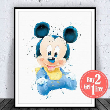 BIG SALE: Baby Mickey Mouse Baby Disney Print Disney Baby Mickey Mouse disney poster Mickey Mouse Art Mickey Mouse Print disney watercolor