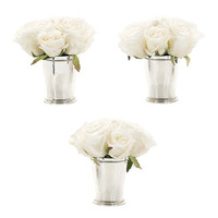 White Roses in Silver Julep Cup Set