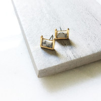 Gold & Marble Square U Stud Earrings