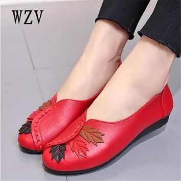2018  Soft Women Shoes Flats Moccasins Slip on Loafers Genuine Leather Ballet Shoes Fashion Casual Ladies Shoes Footwear  E003