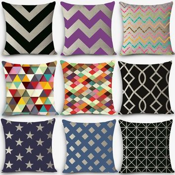 Euro style cheap cushions geometric Print Home Decorative Cushion Throw Pillow Vintage Cotton Linen Square Pillows MYJ-C4