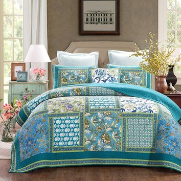 Mediterranean Fountain Bohemian Reversible Cotton Real Patchwork Quilted Coverlet Bedspread Set
