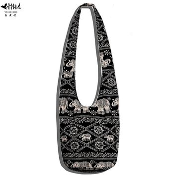 2017 New Women Ethnic Tribal Bags Cotton Canvas Hippie Hobo Sling Cross body Bag Messenger Purse free shipping