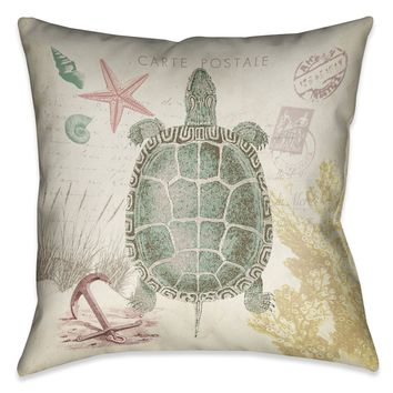 Coral Seaside Postcard Turtle Indoor Decorative Pillow