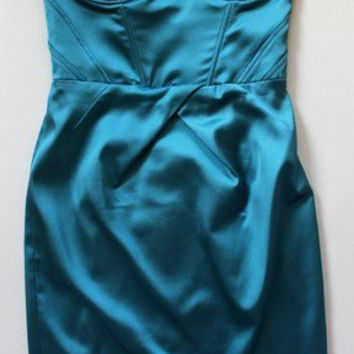 Bustier Dress by Walter - Teal Satin Strapless Dress with Pencil Skirt - Size 4