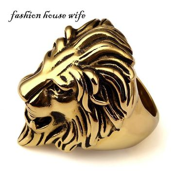 Fashion House Wife Mens Large Size Hip hop Ring Stainless Steel Gold Lion King Head Ring Punk Style