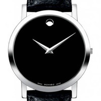 Movado 0606179 Mens Museum Leather Bracelet Watch