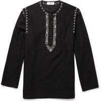 Saint Laurent - Embroidered Cotton and Linen-Blend Tunic | MR PORTER