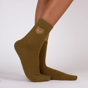 Hollow Heart Sock | Green