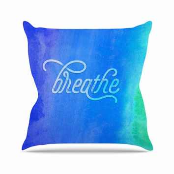"Noonday Design ""Breathe"" Blue Green Outdoor Throw Pillow"