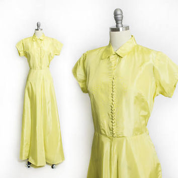 Vintage 1940s Dress - Neon Yellow Taffeta Full Length Gown 40s - Large