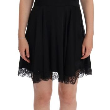 Black Silk Stretch Cotton Shift Dress