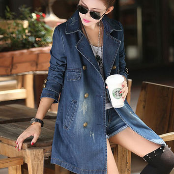 Denim trench for women 2017 autumn plus size double-breasted denim coat female loose casual outerwear 4XL 5XL