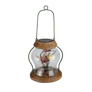 "7"" LED Lighted Solar Powered Outdoor Garden Lantern with Flowers"