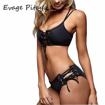 2017 Sexy Black Strappy Bikini Sexy Cut Out bikini halter soild sexy bikini set Women Swimwear Swimsuit beach Bathing suits