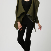 Green coat Wool coat mini coat women jacket (1128)