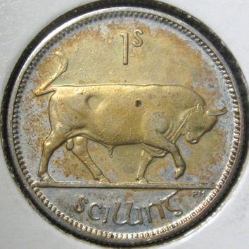 1928 First Year of Independence Ireland Lucky Irish Silver Schilling Coin
