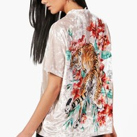Mia Oversized Tiger Back Velvet T-Shirt | Boohoo
