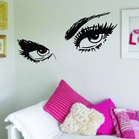 Girl Eyes V3 Eyelashes Beautiful Design Decal Sticker Wall Bedroom Living Room Girls Women Ladies Vinyl Decor Art Eyebrows Make Up Cosmetics Beauty Salon MUA lashes