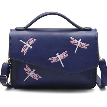 Women Bag Female Handbags Leather Over Shoulder Bag Crossbody Embroidered Butterfly Fashion Blue Cute Tote Small Flap Handbags