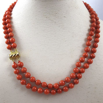 Art Deco Coral Necklace, Red Mediterranean Coral, Double Strand, Hand Knotted Coral Beads, Natural Vintage Coral Jewelry, 14K Gold Fill