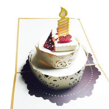 Wow Big Birthday Cake with Cherry & Candle - 3D Pop Up Greeting Card for All Occasions Love, Congratulations, Good Luck, Anniversary, Fun Kids, Baby Shower, Friendship, Family - Premium, Handcrafted