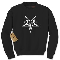 Satanic Goat Head Pentagram Adult Crewneck Sweatshirt