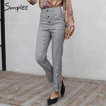 Simplee Houndstooth high waist pants female Autumn winter hide zipper causal pants capris Button 2017 new front split bottom
