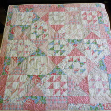 Patchwork Baby Girl Quilt Pretty in Pink Vintage Style