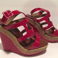 Christian Louboutin Ankle Strap Sandals Wedge Espadrilles Dark Red 36/ 6