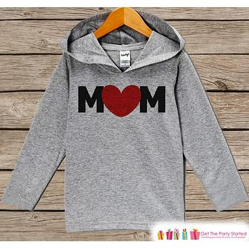 Mom Mother's Day Outfit - Black & Red Heart Mom Hoodie - Boy's Best Mom Shirt - Children's Pullover - Grey Toddler Hoodie - Infant Hoodie