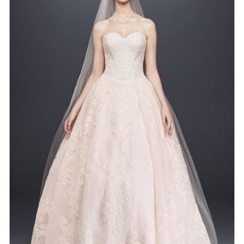 Oleg Cassini Wedding Ball Gown with Lace Appliques | David's Bridal