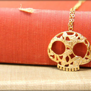 Day of the Dead Skull Necklace, Available in Silver and Gold