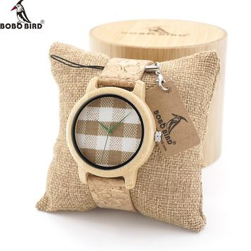 BOBO BIRD Mens Bamboo Wooden watches sport  Quartz Watch With Fabric Dial Top Brand Luxury Watch