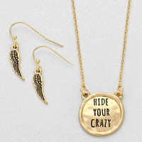 """Hide Your Crazy"" Necklace Gold"