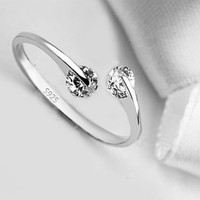Match Made In Heaven .. Two Diamonds have come together on a Sterling Silver Ring..