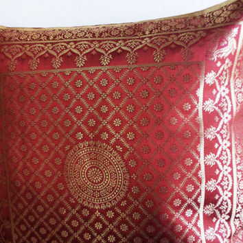 Rust Orange Indian Brocade Decorative Throw Pillow 16x16,Indian Cushion Cover with Indian Motifs Brocade Indian Sari Pillow Tassel